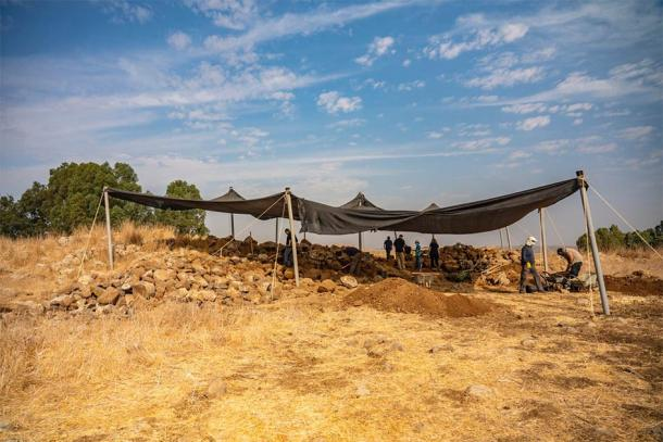 The fort discovered at Golan Heights is now being excavated by the Israel Antiquities Authority. (Yaniv Berman / Israel Antiquities Authority)