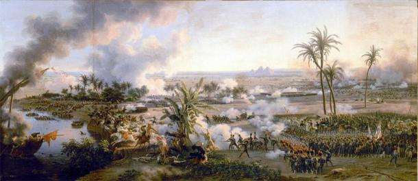General view of the Battle of the Pyramids, July 21, 1798; campaign in Egypt (1798-1801 AD); painted by Louis-François Lejeune. (Louis-François, Baron Lejeune / Public domain)