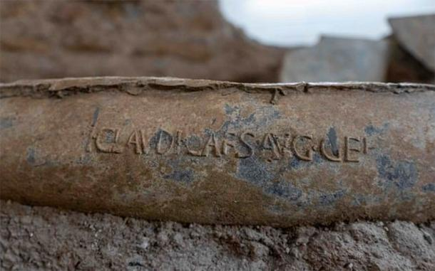 The pipe with Emperor Claudius's name on it found in the gardens of the Caligula palace in central Rome. (Soprintendenza Speciale di Roma)