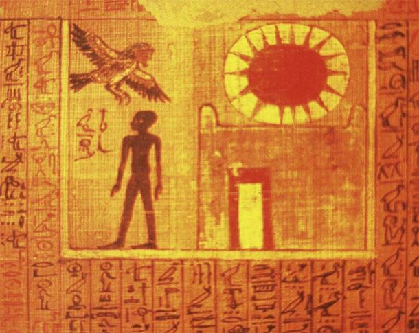 Ba, an aspect of the human soul connected with storks and the afterlife, flying from a tomb to travel to the land of the dead. (Soutekh67 / CC BY-SA 3.0)