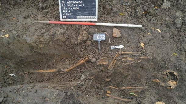 One of the skeletons found in the mass grave in Vianen, the Netherlands. (De Steekproef)