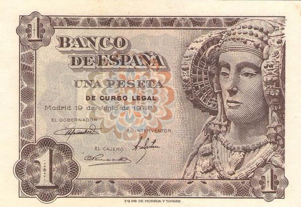 Left: 1948 Spanish bank note showing the Lady of Elche, the limestone bust which was discovered in 1897 in Elche, Alicante, and bears some similar characteristics to the Lady of Baza. (Banco de España - Fábrica Nacional de Moneda y Timbre / CC0). Right: The Lady of Guardamar which was also unearthed in Alicante. (Joanbanjo / CC BY-SA 4.0)