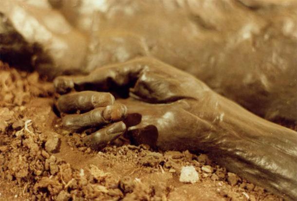 The well-preserved hand of Grauballe Man a bog body murder from Denmark. (Public Domain)