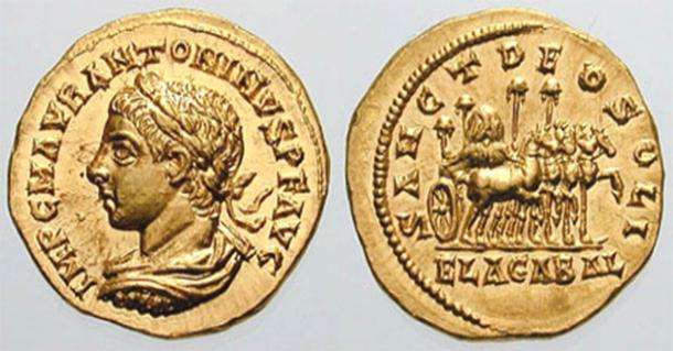 Both sides of an Elagabalus Aureus Sol Invictus coin minted in Antioch, 218-219 AD.