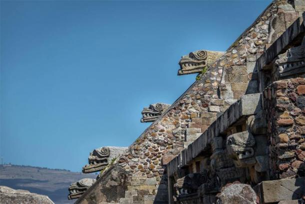 Carving details of Quetzalcoatl Pyramid at Teotihuacan Ruins in Mexico. (diegograndi /Adobe Stock)