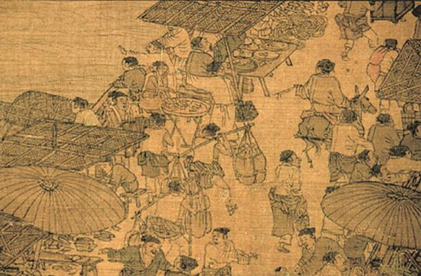 Chinese shops and stalls with parasols and thatched roofs, lined against the riverfront, close-up detail from a long handscroll painting by Zhang Zeduan (1085–1145). (Public Domain)