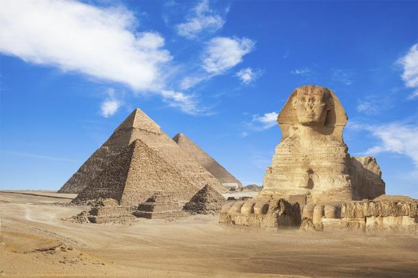 The Pyramids of Giza and the Sphynx in Egypt. (merydolla / Adobe stock)
