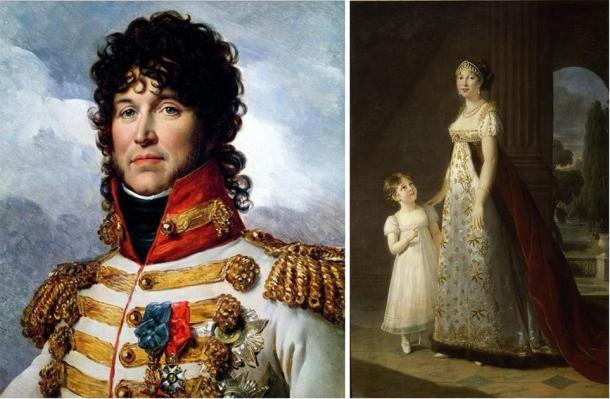 Portraits of King Joaquim Murat (right) (François Gérard / Public domain) and Queen Caroline and her daughter (left), who spent time with the 2nd Marquess of Sligo. (Élisabeth Louise Vigée Le Brun / Public domain)