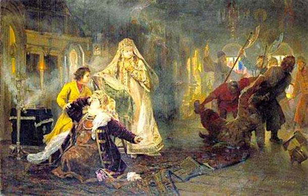 A scene from the uprising: The streltsy take away Natalia Naryshkina's brother; young Peter I tries to console his mother, while Sophia watches the whole scene in satisfaction.(Vissarion / Public Domain)