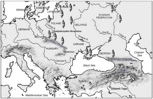 Location of the discovery of Swiderian points across Europe. (Image credit: Andrew Collins)