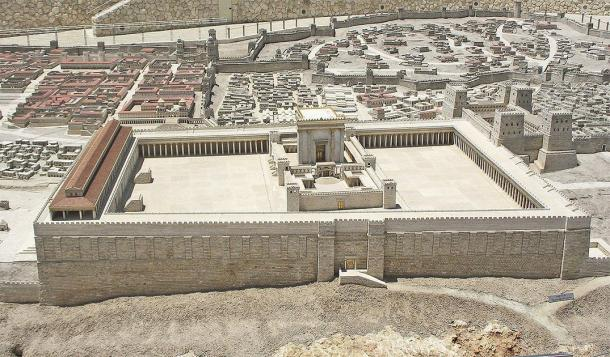 A scale model of the Second Jewish Temple, built under King Herod a thousand years after Solomon built the first Temple on the same spot. This temple was visited by Jesus and Paul. The city of Jerusalem is visible behind the huge Temple Mount, of which the Temple itself occupies only the small central portion. In Jerusalem's Israel Museum. (Ariely / CC BY 3.0)