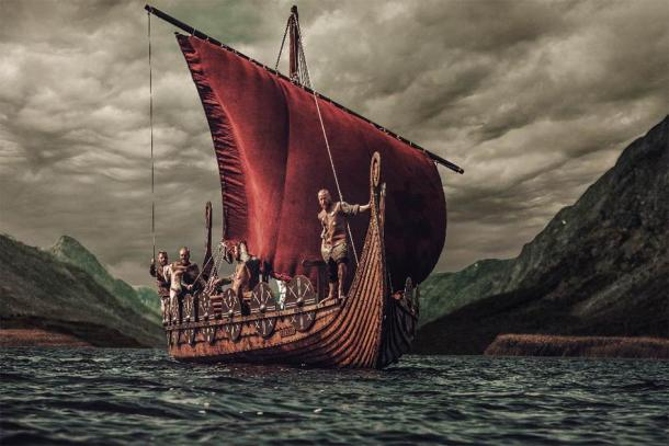 Vikings on a longship at sea. (Nejron Photo /Adobe Stock)