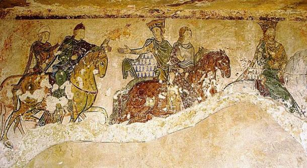 Eleanor of Aquitaine, Henry Plantagenet and their children in a mural found the chapel of Saint Radegund in Chinon, France. (Chinpat / CC BY-SA)