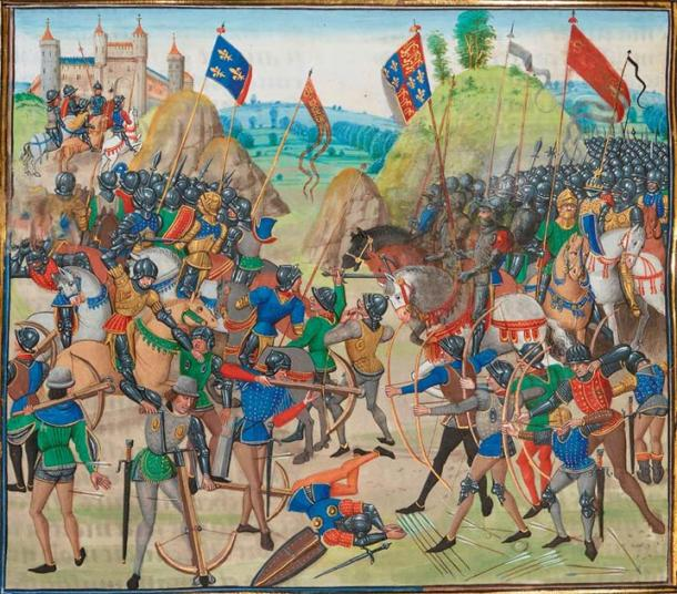 Battle of Crécy (15th century) by Jean Froissart. (Public Domain) Note the prominence of the Anglo-Welsh longbowmen on the right.