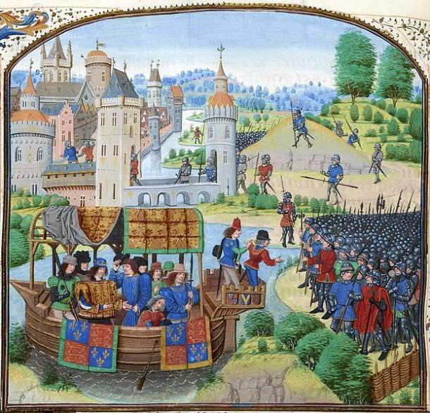 King Richard II and his failed negotiation with rebels from his barge on the River Thames, during Wat Tyler's Rebellion of 1381, from a 1470s copy of Jean Froissart's Chronicles. (Public domain)
