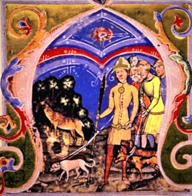 Miniature of the hunt of the White Stag, from the Illuminated Chronicle, with Hunor, Magor and dogs in the foreground. (Public Domain)
