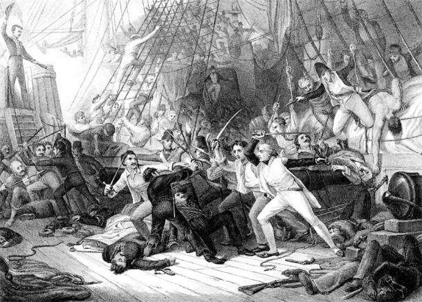 An engraved illustration image of Nelson boarding the San Josef at the Battle of St Vincent from a vintage Victorian book dated 1886 (Tony Baggett / Adobe Stock)