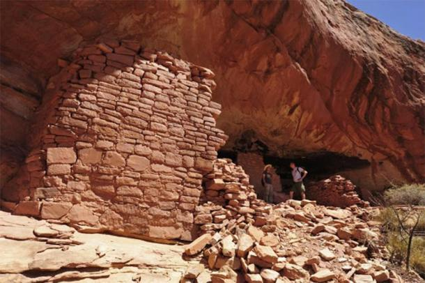 Polish archaeologists exploring the site where the rock art of the Pueblo people was found at the Mesa Verde site in Colorado. (Jagiellonian University)