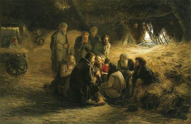 Peasants Reading the Emancipation Manifesto, a painting by Grigory Myasoyedov from 1873. Before the Great Emancipation of 1861, which effectively abolished serfdom, over 20 million privately owned serfs were being traded, bought, sold, and exploited. (Public domain)