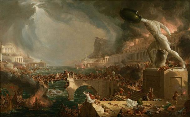 Destruction, by the English painter Thomas Cole, was painted to show the fall of the Roman Empire. (Public domain)