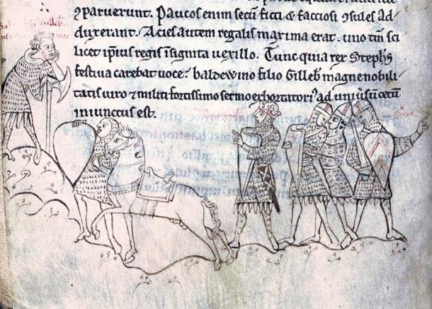 The Battle of Lincoln: On the left: Baldwin FitzGilbert; in the center, King Stephen wearing his crown and directing Baldwin to address the army on his behalf. (British Library / Public domain)