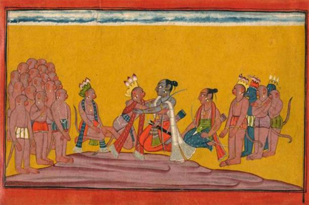 Rama embraces Sugriva on hearing the mighty deeds of the gathered Vanaras. (Credit: Simon Ray/Indian & Islamic Works of Art)