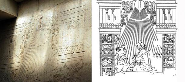 Scene from the Tomb of Ramose (TT55) in Thebes, showing Akhenaten and Nefertiti at the Window of Appearances in the bold new Amarna style. Probably dated from year four, the style contrasts with older conventional scenes in the same tomb. (Left: David Schmid / CC BY-SA 3.0. Right: Public domain)
