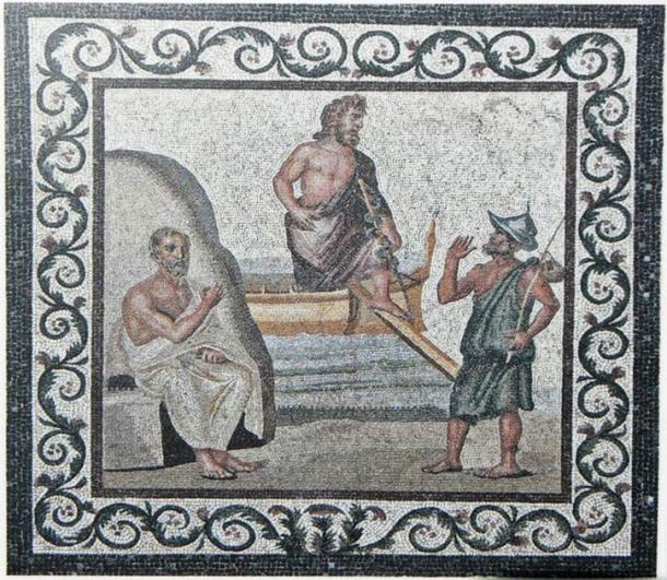 """Asclepius acquired the reputation of being """"one who could charm back the dead man."""" Could this be due to the covert use of anesthetic drugs at the Asclepian centers? In the image, a mosaic depicting Asclepius in the center and being greeted by Hippocrates on the left. (Tedmek / CC BY-SA 3.0)"""