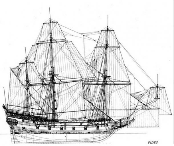 Reconstruction drawing of the warship FIDES, which was of approximately the same type of size as Delmenhorst. (N.M. Probst / The Viking Ship Museum)