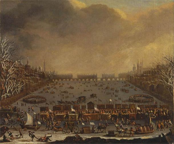 Recreational winter festivities, such as the River Thames frost fairs, took place when the weather was so cold as to freeze the water. This occurred during the Little Ice Age, between the 17th and 19th centuries. (Public domain)