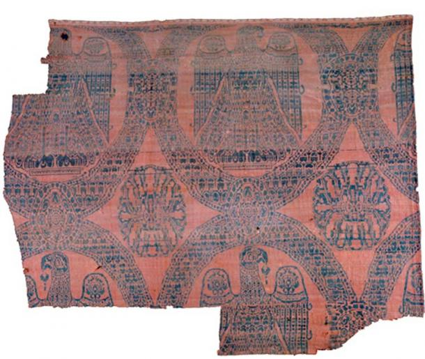 The Eagle Silk blanket textile, woven with a fine weaving technique developed in Persia. The original colors were dark blue, dyed with woad and indigo, and red, dyed with madder and sappanwood. (The National Museum of Denmark)