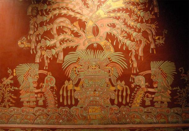 A reproduction of one of the murals depicting the Spider Woman or Great Goddess of Teotihuacan, from the Tepantitla apartment complex, on display in the National Museum of Anthropology, Mexico City. Source: Thomas Aleto / CC BY 2.0