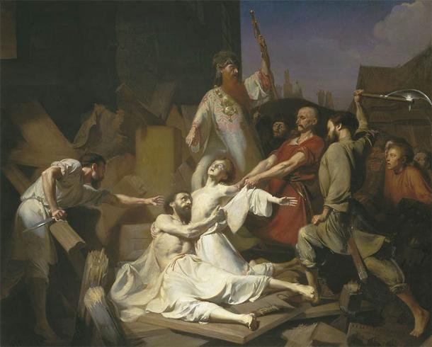 While Volodymyr erected monuments to the Slavic pagan gods, there was also widespread persecution of Christians in Kievan Rus'. Fyodor and his son Ioann (also known as Theodore the Varangian and John) were Christians murdered at the time. They have gone down in history as the first martyrs of the Russian Orthodox Church. (Public domain)