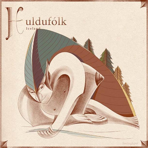 Illustration of Iceland's Huldufólk. (Laimute Varkalaite/SavingSpot)