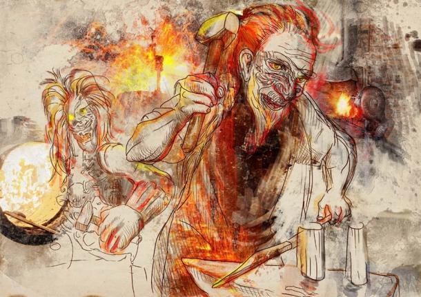 "A drawing of Hephaestus ""working"" as a blacksmith. (kuco / Adobe Stock)"