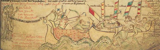 Eustace the Monk met his end in the Battle of Sandwich, which is depicted here.