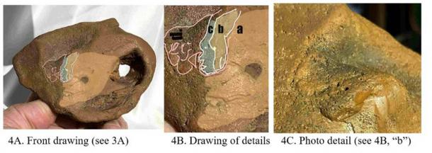 Front drawings and photo showing multi glyphs on this example of portable rock art. (Author provided)