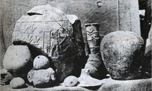 Artifacts found at Nekhen | Hierakonpolis, the religious and political capital of Upper Egypt in Predynastic Egypt, which is also the location of the world's first known zoo, which was a sad home for Egyptian hippos. (Quibell, James Edward, 1867-1935; Green, F. W; Petrie, W. M. Flinders (William Matthew Flinders), Sir, 1853-1942 / Public domain)
