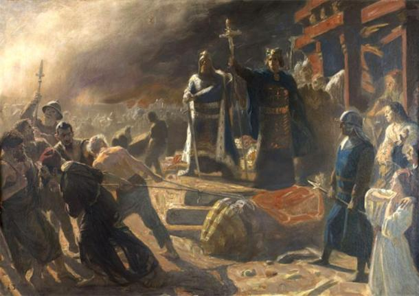 'The Taking of Arkona in 1169, King Valdemar and Bishop Absalon' (19th century) by Laurits Tuxen. (Public Domain) Bishop Absalon is depicted toppling the statue of god Svantevit.