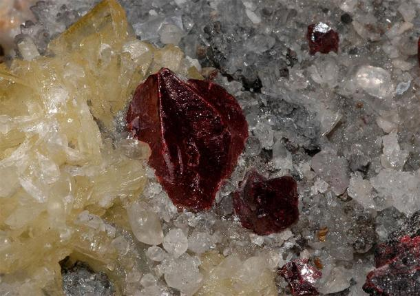 Crystals of cinnabar (red color) from the Wanshan Mine, Guizhou Province, China. An example of a material historically associated with Chinese alchemy and the elixir of life. (Géry Parent / Public domain)