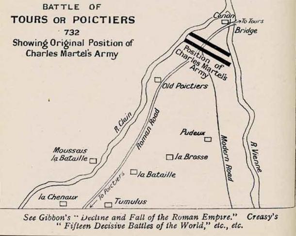 Map of the Battle of Tours with the position of Charles Martel's army. (Evzen M / Public Domain)
