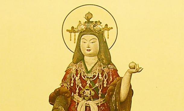 The Japanese goddess Kisshōten holding the wish-fulfilling gem (Public Domain )