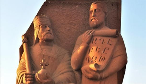Statue of Vramshapuh and Mesrop Mashtots near the Armenian Alphabet Monument. (Yerevantsi / CC BY-SA 4.0