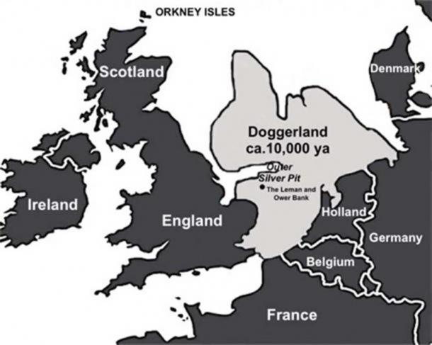 Map of Doggerland as it might have looked around 10,000 years ago. The area known as the Outer Silver Pit is thought to have been the center of the landmass's Mesolithic community some 10,000 years ago. (Image credit: Andrew Collins)