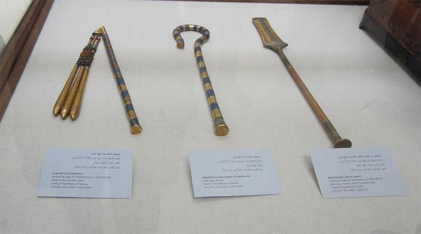 A flail, a crook, and a sekhem scepter from the tomb of Tutankhamun. Eighteenth Dynasty, 14th century BC. (Image: A. Parrot / CC0)