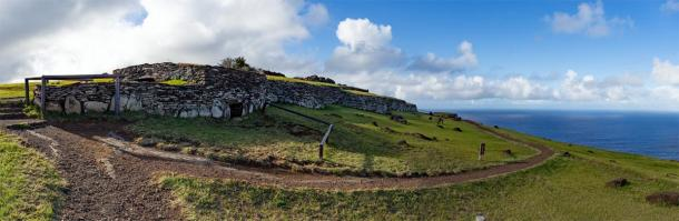 The ceremonial Orongo Village on Easter Island where the Birdman cult competition took place. (lblinova / Adobe stock)
