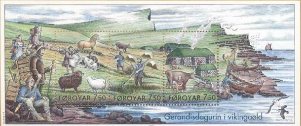Stamps showing 'Everyday Life in the Viking Age.' (Public Domain)
