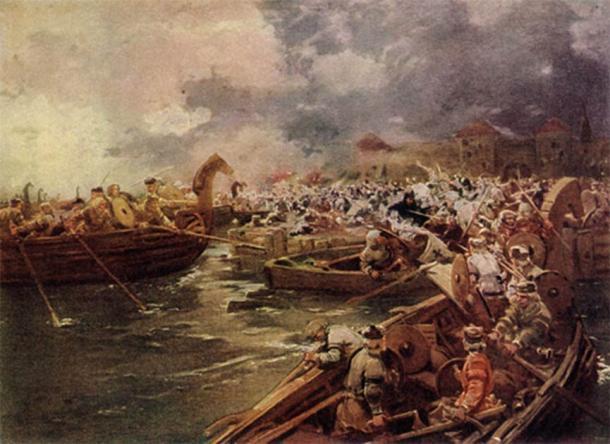 Curonians attacking Riga in 1210. (Public domain)
