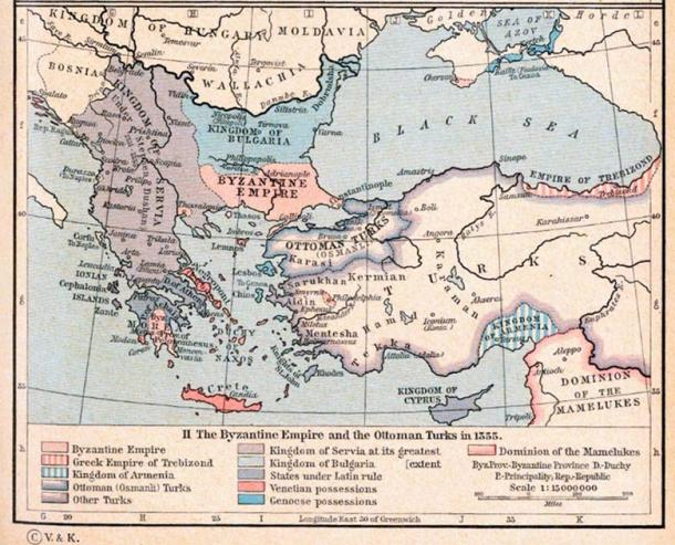 Map showing the Serbian Empire at the height of its power in 1355. (Public domain)