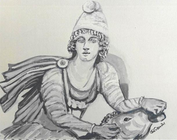 Modern representation of Mithras and the bull. (Image courtesy of Janet Callender)